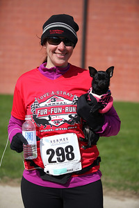 Sarah Gorman of Avon lake and her Chihuahua Lupe after the 5k race at the Love-a-Stray Dog Walk. photo by Ray Riedel