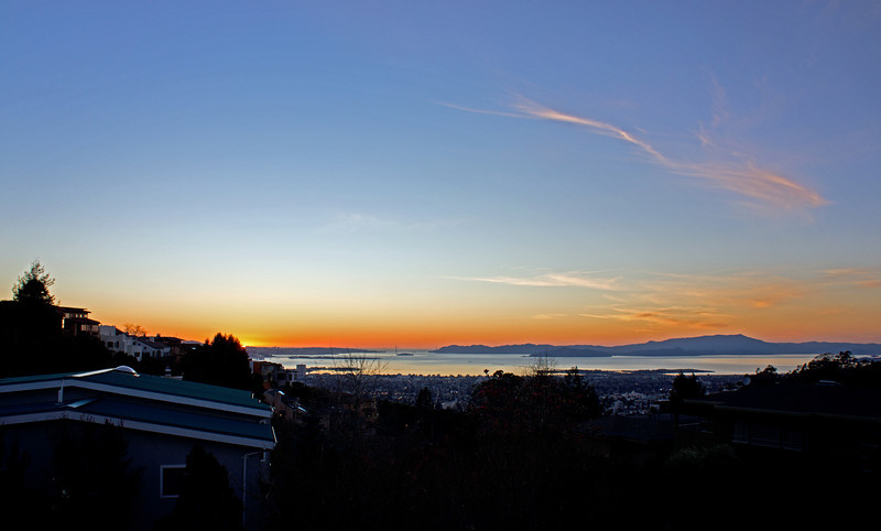 Sunset over the Golden Gate Bridge, shot from my deck.