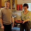 East Bay PIckin' n' Fiddlin' jam member serves me a birthday fruit tart at my house.