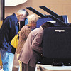 John P. Cleary   The Herald Bulletin<br /> Voters filled the booths for a short time in Richland 6 Tuesday morning as they voted at Bethany Christian Church.