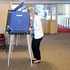 Don Knight | The Herald Bulletin<br /> Jamie Dayton casts her ballot at Meadowbrook Baptist Church in Anderson where turnout was light on Tuesday.