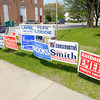 Don Knight | The Herald Bulletin<br /> Election signs stand in front of Stoney Creek Precinct One at the Masonic Lodge during the Primary on Tuesday.