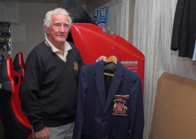 Albie Arabin with his 1957 Premiership Blazer.