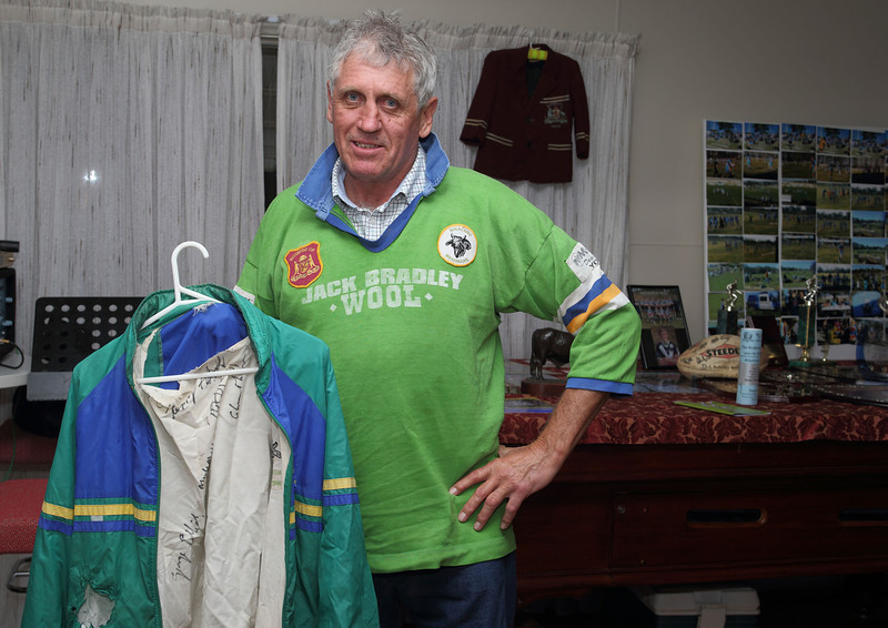 Duncan Bennet-Burleigh, former trainer and player with his team-signed jacket from 1991.