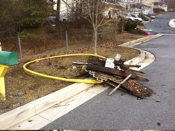 2/8/14: Jon Merryman's cleanup at 1795 Westchester Ave, 21228 in the Miller Run watershed in Baltimore County. Removed a tangled mess of lumber and cable sheathing from the creek, located upstream of the concrete pipe running under the street. 450 lbs.