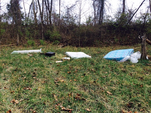 11.22.14 Jon Merryman...cleanup at Hollins Ferry Road in Halethorpe, Baltimore County, Herbert Run subwatershed. Found Two queen box springs, queen mattress, boxes of formula, two large stereo speakers, and a coffee table.  Estimated weight is 350 pounds.