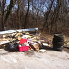 3/8/14: Jon Merryman's cleanup on Leslie Ave., Baltimore County, Cedar Run subwatershed. Found an additional pile of junk consisting of 2 car tires, 3 pickup tires and about 1400 lbs of cabinets, lumber, and trash. All pulled from the small creek behind the guardrail. 1530 lbs.