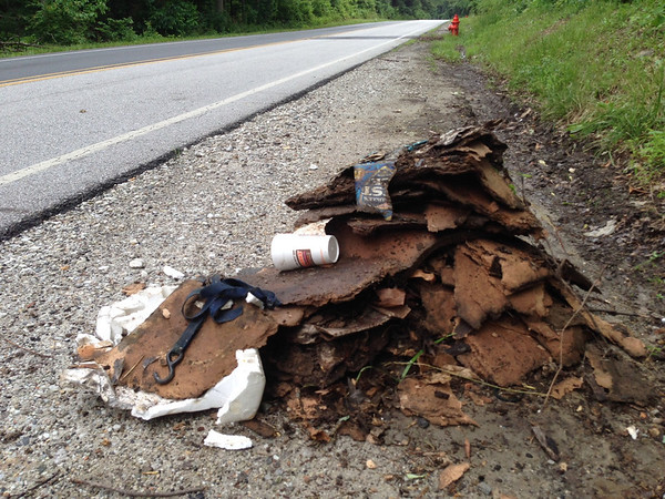 6/11/14: Part of Jon Merryman's cleanup on Race Road in Howard County. Found a pile of plywood, a bag, and other misc. junk at 6040 Race Road. 60 lbs total.