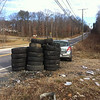 1/19/2014: Jon Merryman's cleanup along Race Road at Pritchard's Lane. Piney Run watershed. 44 tires were extracted; 6 car tires (120 lbs), and 38 pickup tires (1140 lbs). Total is 1260 lbs!
