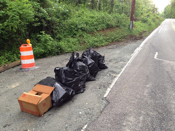 5/28/14: Jon Merryman's cleanup at the bottom of River Road in A.A. County, Patapsco River watershed. Found 7 bags and a box. 7 bags: 7*25 = 175 + 2lb box = 177 lbs total.