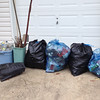 6/13/14: Caroline Zimmerman's week's worth of cleanups along Sawmill Branch and one 15 lbs bag from one of the three River Road footbridge parking areas, Baltimore County, Sawmill Branch and Patapsco River watershed. Found 40 lbs of scrap metal and 65 lbs of trash. Total of 105 lbs.