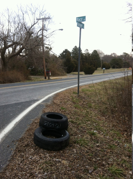 3/28/14: Jon Merryman's cleanup on the corner of Hanover and Race Road, A.A. County, Deep Run subwatershed. Found 3 tires (60 lbs).
