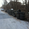 3/8/14: Jon Merryman's cleanup at 1100 block of Cummings Ave., Baltimore County, Cedar Run subwatershed. Found 159 tires (30 truck tires, 52 car tires, 74 pickup tires, 3 Bobcat tires). 6350 lbs!
