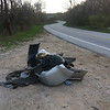 """4/14/14: Jon Merryman's cleanup on Hammonds Ferry Road at the Patapsco bridge, Baltimore County, Patapsco River watershed. Found three car bumpers, old shingles, bags of yard waste, oil jugs, DVD cases, and stereo car speakers. 125 lbs. """"This spot is ALWAYS a spot where people dump. Any chance we can get a guardrail or boulders here in 2014?"""""""