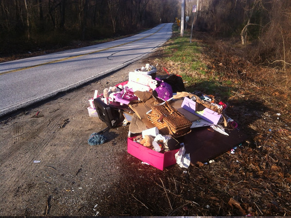 4/9/14: Jon Merryman's cleanup along River Road in A.A. County near West Nursery, Patapsco River watershed. Found mostly toys and furniture weighing at an estimated 200 lbs.