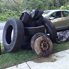 8/25/14: Jon Merryman's cleanup on on Race Road between Montevideo and Walcott, A.A. County, Piney Run subwatershed. Found 5 tractor trailer tires, 6 car tires (2 rims), a tv and some misc. trash (tv & misc. trash are worth 50 lbs). Total trash weight is (5*100)+(4*20)+(2*25)+50 = 680 lbs!