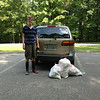 """8/7/14: Esben and Anne Jepsen ventured out into the Hollifield Park area of the Patapsco River for a stream cleanup. They've found three bags of trash consisting of styrofoam and plastic bits, bottles, cans, diapers, clothes and candy wrappers totaling 75 lbs. """"I'm sure we are going to find more of the same stuff this fall since the weeds on the banks must be hiding plenty more. Other than that everything seems fine – we didn't see a whole lot of animals – only water skimmers, butterflies and on one of the last photos I took a picture of some sort of watergrass?"""""""