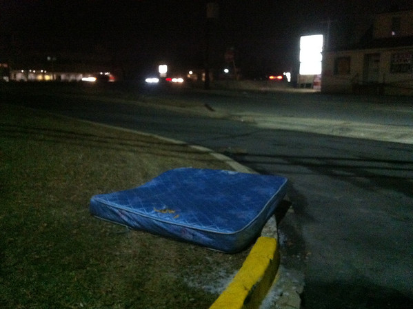 2/26/14: Jon Merryman's cleanup in Catonsville on Old Frederick Rd at Cummings Ave, on the south side of 40, there's a queen sized mattress (near the entrance to Walmart). Baltimore County, Herbert Run subwatershed. 50 lbs.
