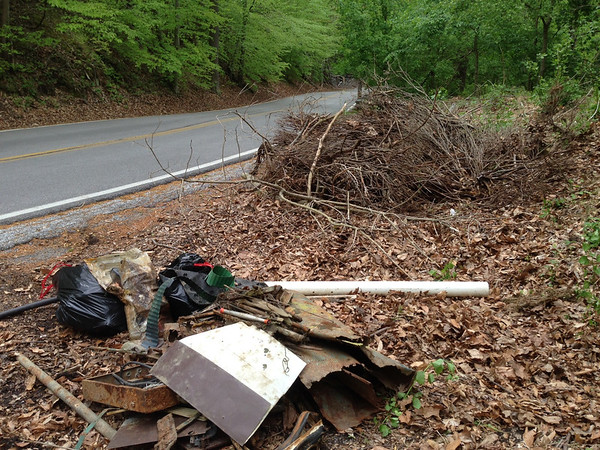 5/10/14: Jon Merryman's cleanup south along Thistle Road in Catonsville, Thistle Run subwatershed. Found about 250 lbs of scrap metal, 3 heavy trash bags (100 lbs), and a pile of yard waste that someone had dumped. Estimated 350 lbs.