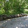 6/28/14: Jon Merryman's cleanup on Church Avenue, side street off Race Road in Howard County, Deep Run subwatershed. Found 27 car tires (20*27= 540 lbs) and 1 tractor trailer tire (100 lbs). Total weight is 640 lbs.