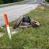 9/2/14: Jon Merryman's cleanup on Nursery Road, just downhill from G&M at Friendship Run, in A.A. County, Patapsco River watershed. Found two tractor trailer tires, two car tires, and a small TV. Estimated weight is 260 lbs.