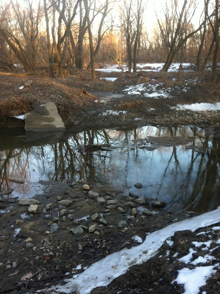 2/1/2014: PVSP at the end of Halethorpe Farm Rd in Baltimore County, between I-895 and the river. This is a shallow crossing used by ATV and dirt bike riders riding illegally in the park.