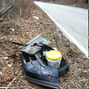 3/23/14: Jon Merryman's cleanup on Furnace Avenue, A.A. County, Deep Run subwatershed. On top of the hill he found a car bumper, two car tires, and two contractor buckets (one full). 40+5+30+10= 85 lbs