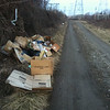 2/1/2014: PVSP at the end of Halethorpe Farm Rd in Baltimore County, between I-895 and the river. Trash appears to come from Richard Eberle of Richard Mews Square in Arbutus (see next picture with prescription info). NRP (natural resources police) were given the information and are investigating / contacting the possible culprit.
