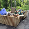 5/28/14: Jon Merryman's cleanup on River Road in A.A. County, Patapsco River watershed. Found a lot of furniture and trash! Some furniture items include:  2 patio chairs, a couch and matching loveseat, and a chest of drawers. 305 lbs.