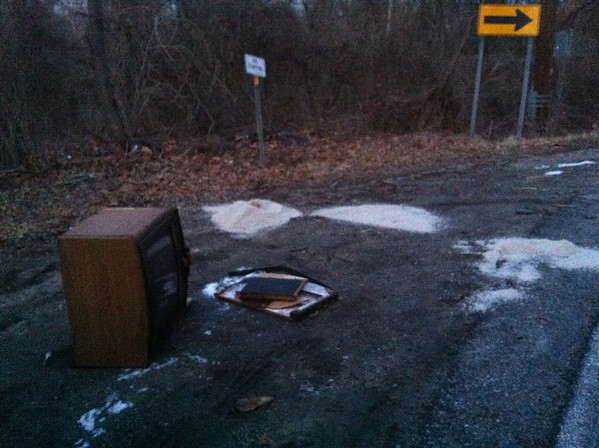 2/25/14: Jon Merryman's cleanup on River Road next to Nursery Road in A.A. County, Patapsco River watershed. Some salt truck dumped a bunch of salt today and Jon pulled this tv out of the woods. 150 lbs.