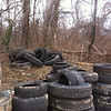 3/14/14: Jon Merryman's cleanup on Cummings Avenue in Catonsville, Baltimore County, Cedar Run subwatershed. Found 15 tractor trailer tires w/ 1 rim (1530 lbs).