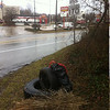 1/14/14: Jon Merryman's cleanup on Baltimore-Annapolis Road in AA Co between the light rail overpass and the Checkers restaurant. Found a tractor trailer tire, a car tire, and a bag of Checkers trash. 145 lbs.