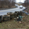 3/22/14: Jon Merryman's cleanup on West Nursery Road behind G&M in Linthicum Heights, A.A. County, Patapsco River watershed. Found 14 tractor trailer tires, 15 pickup tires, 10 car tires, inner tubes, styrofoam, plastic pipes, misc trash. 2200 lbs