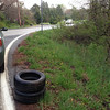 5/1/14: Jon Merryman finds 2 car tires washed out of Deep Run subwatershed, A.A. County, on the corner of Race and Hanover Road. 40 lbs.
