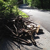 6/6/14: Jon Merryman's cleanup on Bonnie Branch Road, 1/4 mile from Ilchester Road at the 'Share the Road' sign. Howard County, Patapsco River watershed. Found a pile of yard waste, 4 by 4 lumber pieces, and other landscaping waste. 50 lbs.