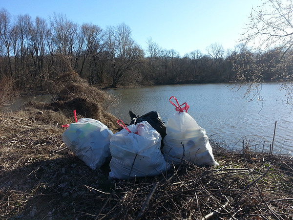 """3/15/14: Kaitlin Coolahan's cleanup in Patapsco State Park near the end of Halethorpe Farms Road, Herbert Run subwatershed, Balt. Co. Found 3 bags of recycling and 1 bag of trash. Reports this entire area sorely needs an organized clean up... lots of old trash. """"It's a wonderful place (minus the dumping) and there is a pair of nesting bald eagles you can sometimes spot."""" (100 lbs)"""