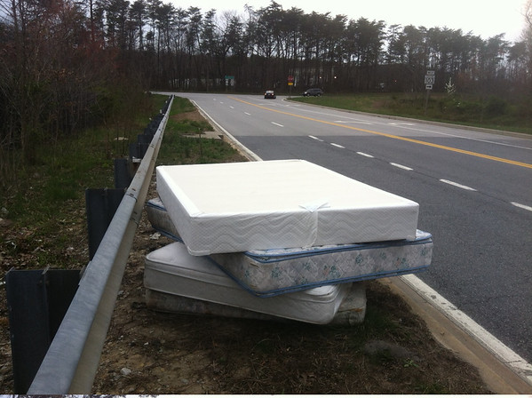 4/14/14: Part of Jon Merryman's cleanup along Route 103 in Elkridge, Howard County, Deep Run subwatershed. Found 2 queen mattress box spring sets. 150 lbs.
