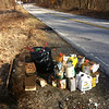 2/7/14: Jon Merryman's cleanup along River Road near Nursery in AA Co. Patapsco River watershed. Found lots of paint cans, oil, chemicals, a bag of litter, etc. Estimated to be 200 lbs.