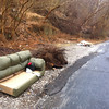 1/14/14: Jon Merryman's cleanup on Hilltop Road just downhill from the hairpin turn in Balt. Co. He found a sofa, lots of dumped bushes, and a pile of contractor scraps. Estimated to be 475 lbs.