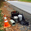 11.25.14 Jon Merryman...cleanup at Nursery Road in Linthicum Heights, AA County.  Three tires, two cones, two contractor buckets and a utility cover from somewhere else (no sign of where it came from nearby).  Estimated weight 70 pounds.