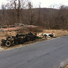 3/17/14: Jon Merryman added to his cleanup on Hilltop Avenue up the hill from the hairpin turn, Balt. Co., Thistle Run subwatershed. The tire count is now 69, instead of 1. On this date he has collected 20 pickup tires (600 lbs), 47 car tires (940 lbs), and one large one that weighs about 75 lbs (1615 lbs altogether).