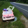 6/3/14: Jon Merryman's cleanup on Race Road near Hanover Road in Howard County, Deep Run subwatershed. Found an abandoned motorized Barbie Cadillac, a glass table, and a lawn chair. 100 lbs total.