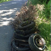 6/1/14: Jon Merryman's cleanup on Nuwood Drive, south of Route 40 in Baltimore County, Miller Branch subwatershed. Found 9 tires, 1 tire has a rim, and a pile of yard waste pulled out of the ditch about halfway between Route 40 and the cul-de-sac at the bottom of the hill. 185 lbs.