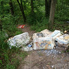 6/30/14: Part of Jon Merryman's cleanup on Race Road, south of the Piney Run bridge, A.A. County, Deep Run subwatershed. Found 7 bags of mortar and some trash. Estimated weight is 220 lbs ( 7 bags*30 lbs + 10 lbs of trash).