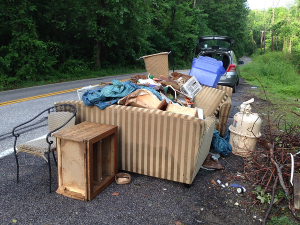 5/28/14: Part of Jon Merryman's cleanup on River Road in A.A. County. He found a lot of furniture and trash dumped. Estimated trash total is 305 lbs.