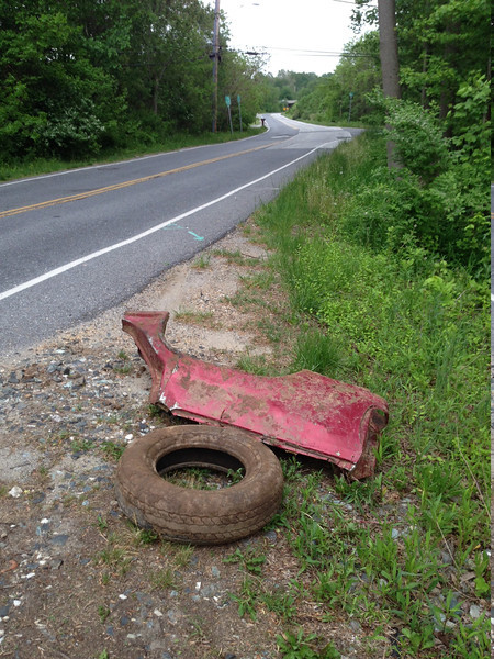 5/15/14: Jon Merryman's cleanup on Hanover Road in A.A. County, Deep Run subwatershed. Found an SUV quarter panel worth 75 lbs. The car part will be picked up by a 'scrap metal dude' and not reported to be picked up from Highways.The tire will not be added to the total until he finds more trash to report to the Highway Administration.