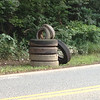 8/25/14: Jon Merryman's cleanup along Furnace Avenue on Ridge Road in A.A. County, Deep Run subwatershed. Found 7 car tires (2 car tires and 5 tractor trailer tires). Weight total is 540 lbs!