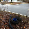 2/21/14: Jon Merryman's cleanup at the corner of Montevideo Rd and Court in Jessup. Anne Arundel Co., Deep Run watershed. Found two car tires, some plastic drain pipe and a md gazette news box (55lbs).