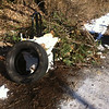 3/8/2014: Jon Merryman's cleanup on Leslie Avenue, Baltimore County, Dead Run subwatershed. Found a chair, toilet, tire, and a pine tree all chopped up in pieces.145 lbs.