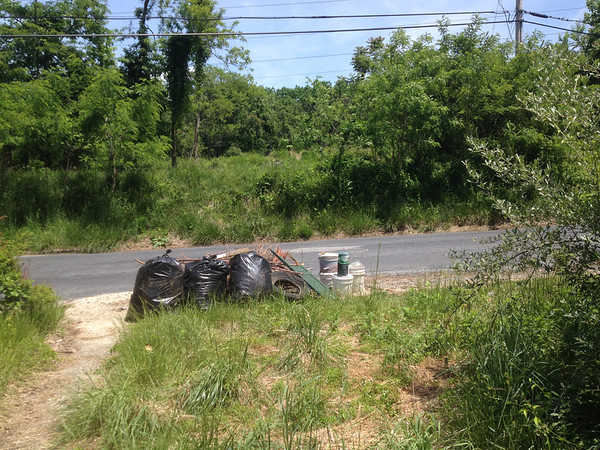 "5/26/14: Caroline Zimmerman's cleanup - ""I added another 15 lb bag (black bag on left in photo, taken from old foundation, looking at road and powerlines) to this pile yesterday: litter from River Road up to the power line service road at the top of the hill. Don't count it yet, I'll submit it in the total with the other stuff I need to get."" <br /> *Note this cleanup's total is added with the scrap metal and trash consolidated on May 28."